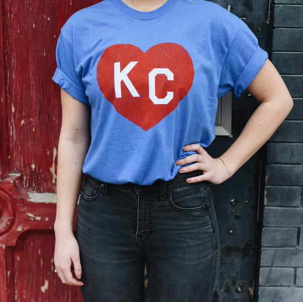 Charlie Hustle KC Heart Tee - Crimson and Blue