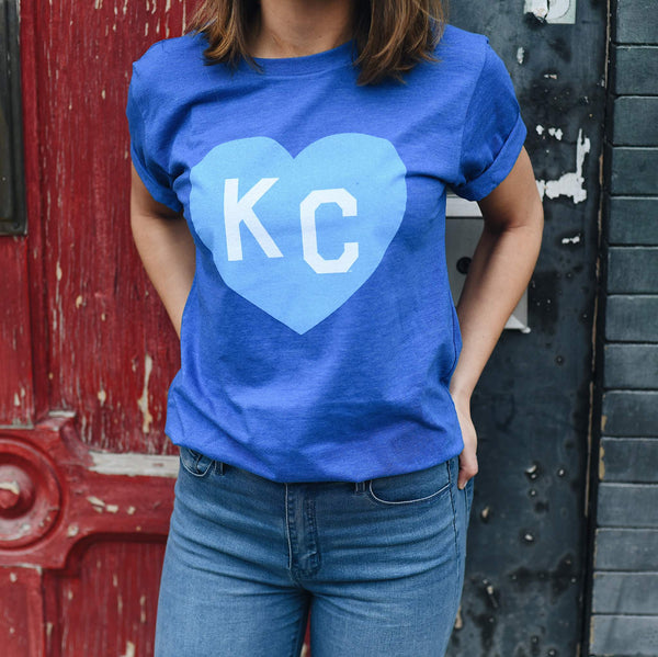Charlie Hustle KC Heart Tee - Royal Blue On Blue