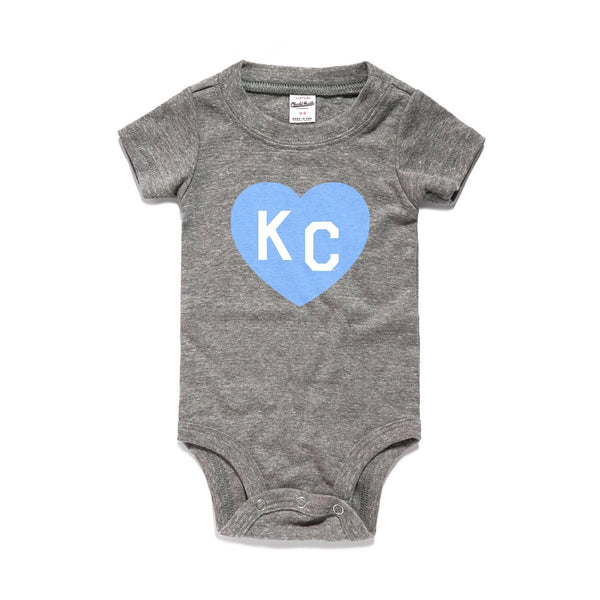 Charlie Hustle KC Heart Onesie - Grey & Blue
