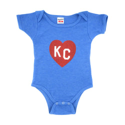 Charlie Hustle KC Heart Onesie - Crimson and Blue