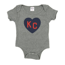 Charlie Hustle KC Heart Onesie - Grey & Navy