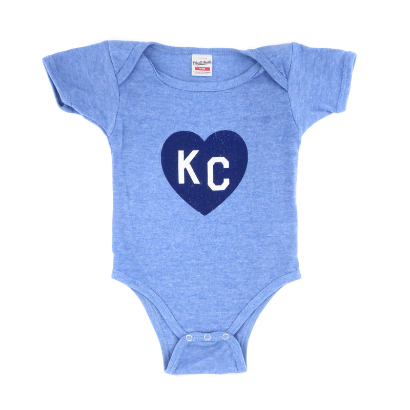 Charlie Hustle KC Heart Onesie - Light Blue