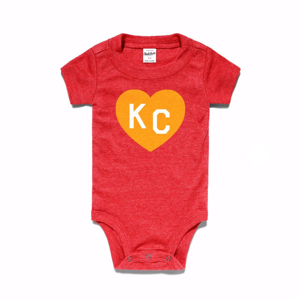 Charlie Hustle KC Heart Onesie - Red & Gold