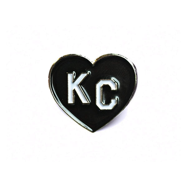 Charlie Hustle KC Heart Enamel Pin: Black