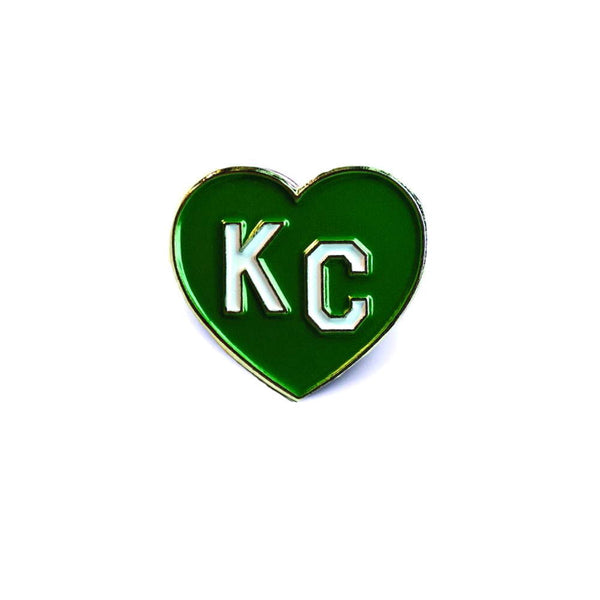 Charlie Hustle KC Heart Enamel Pin: Green