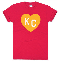 Charlie Hustle KC Heart Tee - Red and Orange