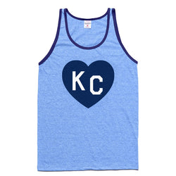 Charlie Hustle KC Heart Ringer Tank Light Blue
