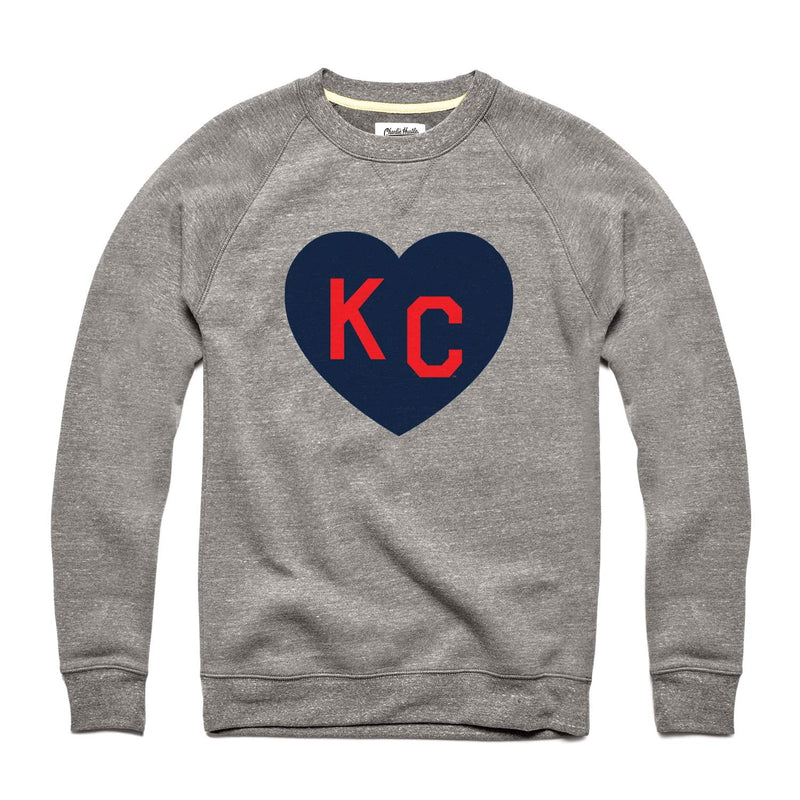 Charlie Hustle KC Heart Sweatshirt: Grey