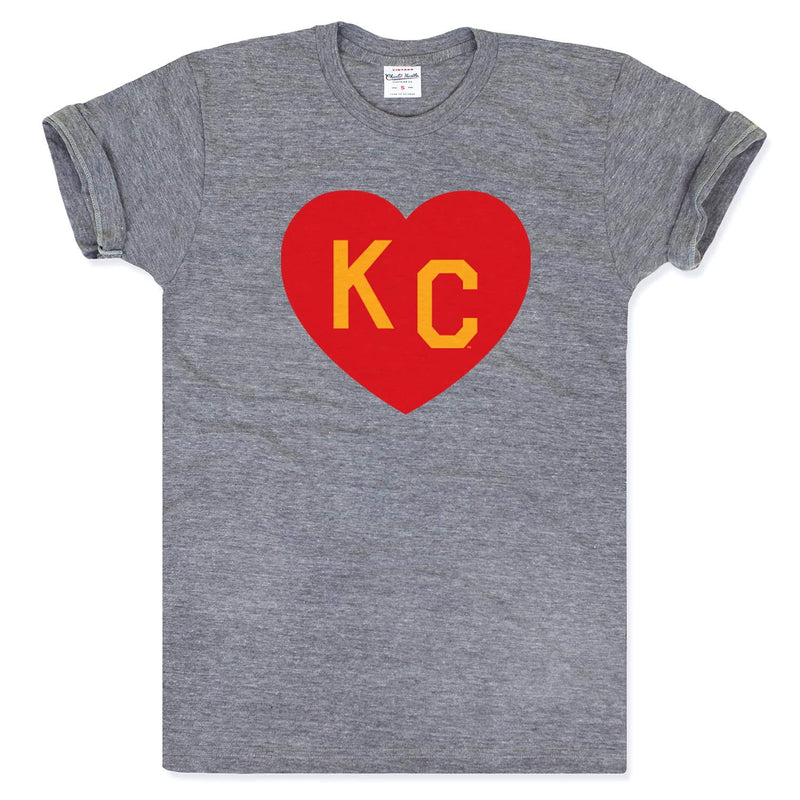Charlie Hustle KC Heart Tee - Grey, Red & Yellow