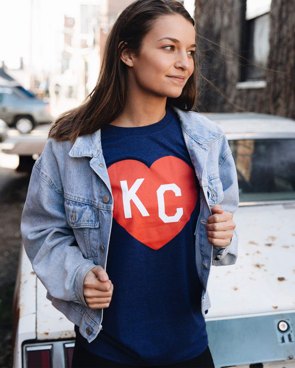 Charlie Hustle Navy KC Heart Tee