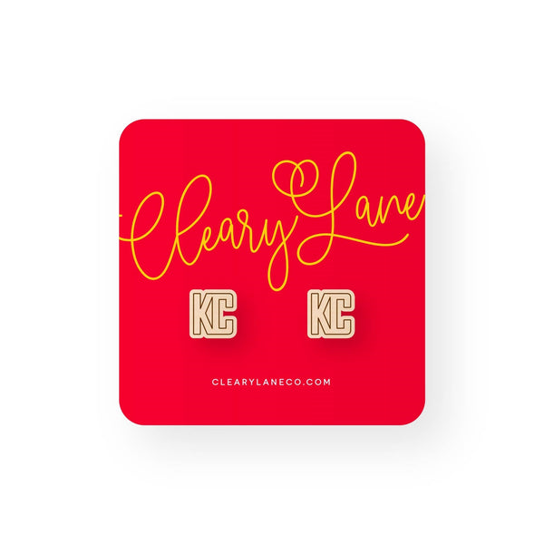 Cleary Lane KC Block Letter Stud Earrings