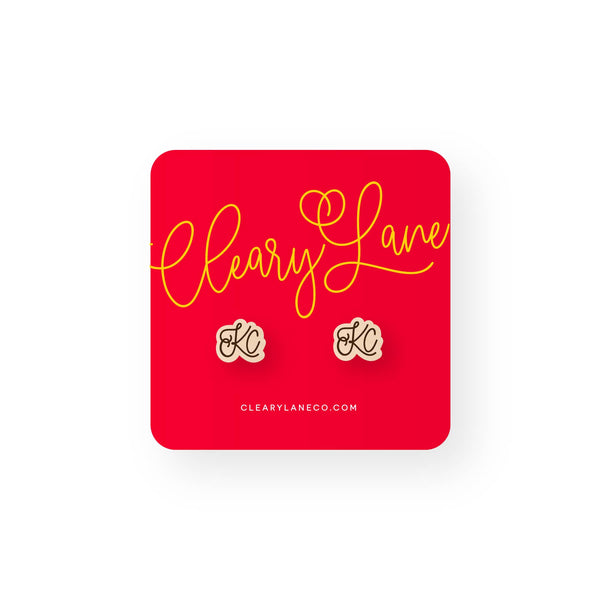 Cleary Lane KC Script Stud Earrings