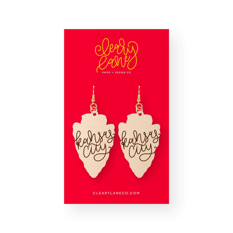Cleary Lane Kansas City Script Arrowhead Dangle Earrings
