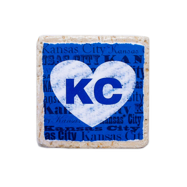 Coasters to Coasters: Blue and White KC Heart