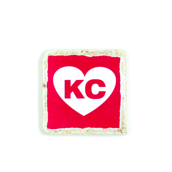 Coasters to Coasters: Red and White KC Heart
