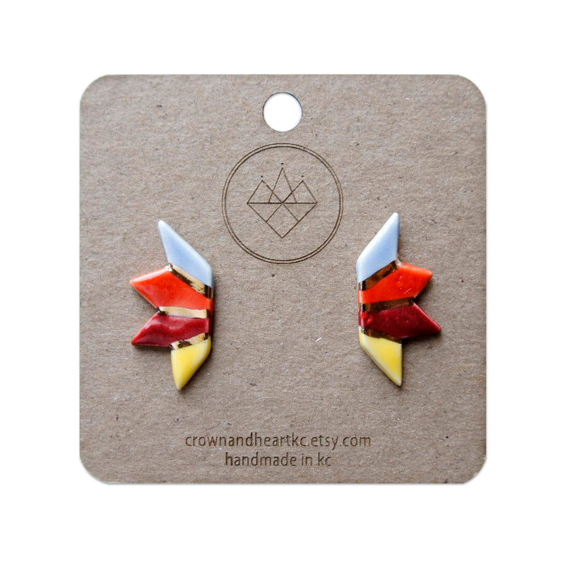 Crown & Heart Prismatic Colorblock Stud Earrings