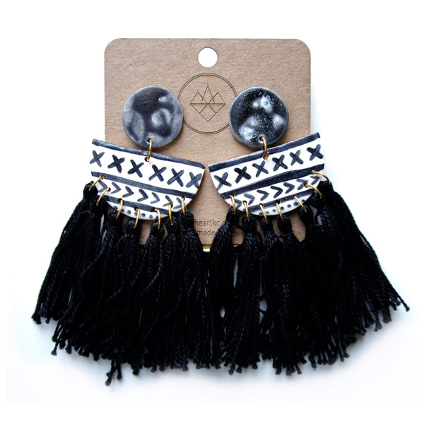Crown & Heart Black and White Tassel Earrings