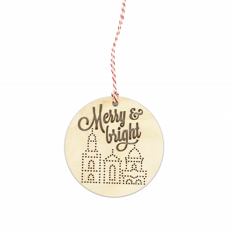 FarmDog Studios Merry & Bright Woodcut Ornament