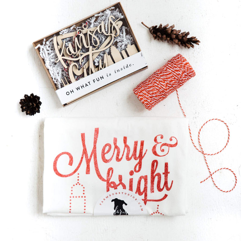 Farmdog Studios Merry & Bright Tea Towel