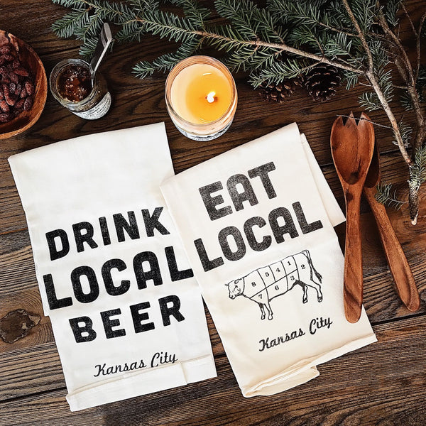 Farmdog Studios Drink Local Beer Tea Towel