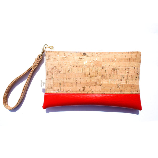 Five Stitches Cork Wristlet - Red