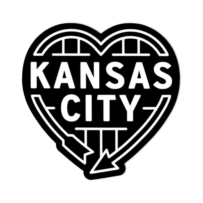 Flint & Field Kansas City Heart Auto Sign Sticker - Black
