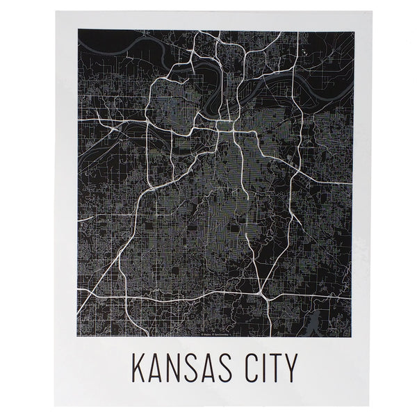 Flint & Field Kansas City Map Print Black