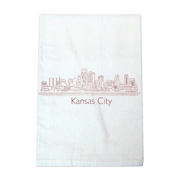 Green Bee KC Skyline Tea Towel - Red