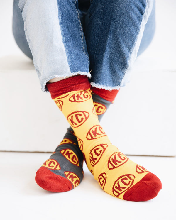The Kansas City Clothing Co. KC Football Socks - Charcoal