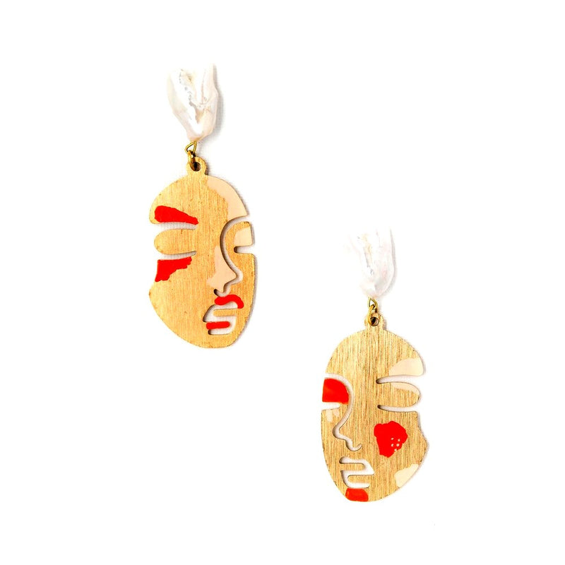 Lily Dawson Designs Face Earrings: Coral