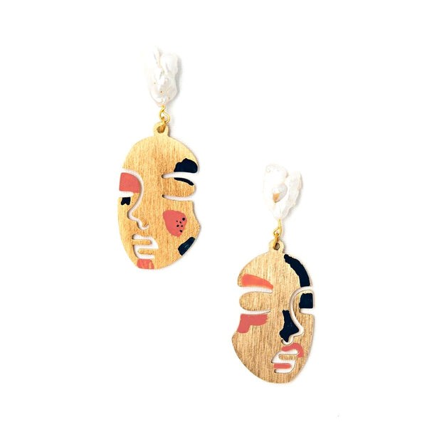 Lily Dawson Designs Face Earrings: Mauve