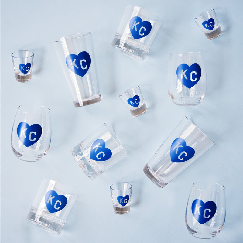 Made in KC x Charlie Hustle KC Heart Pint Glass: Royal Blue