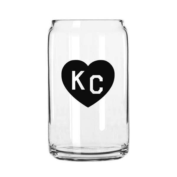 Made in KC x Charlie Hustle KC Heart Beer Can Glass: Black