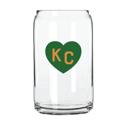 Made in KC x Charlie Hustle KC Heart Beer Can Glass: Green/Gold