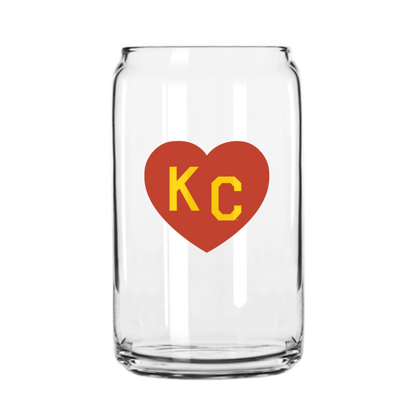 Made in KC x Charlie Hustle KC Heart Beer Can Glass: Red/Yellow
