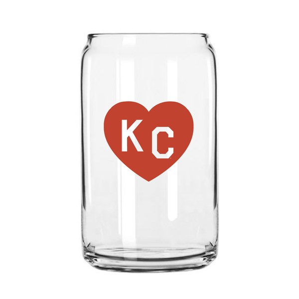 Made in KC x Charlie Hustle KC Heart Beer Can Glass: Red