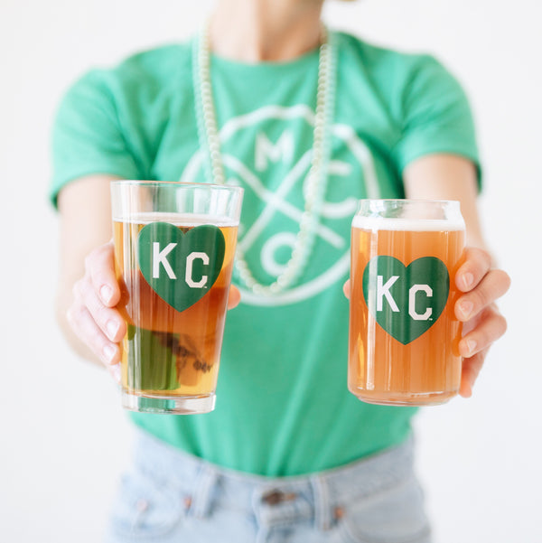 Made in KC x Charlie Hustle KC Heart Beer Can Glass: Green/White