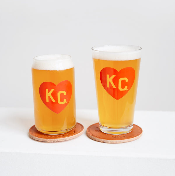Made in KC x Charlie Hustle KC Heart Pint Glass: Red/Yellow