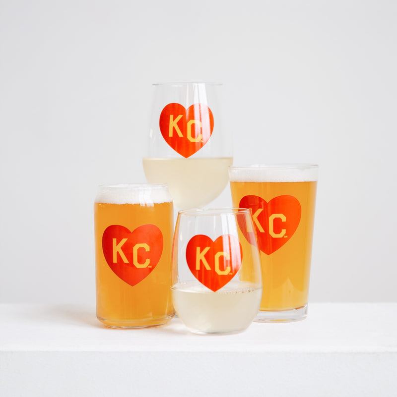 Made in KC x Charlie Hustle KC Heart Wine Glass: Red/Yellow