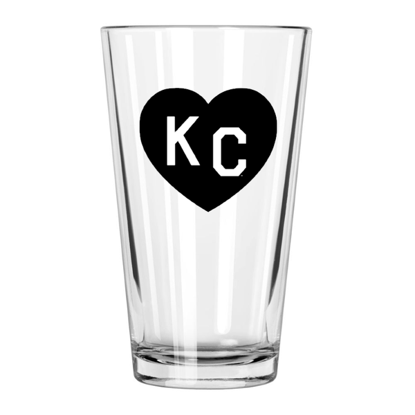Made in KC x Charlie Hustle KC Heart Pint Glass: Black