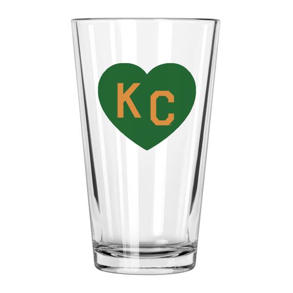 Made in KC x Charlie Hustle KC Heart Pint Glass: Green/Gold