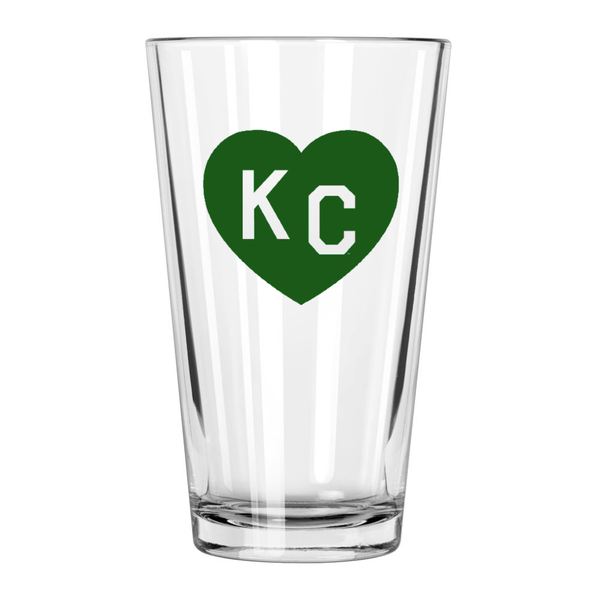 Made in KC x Charlie Hustle KC Heart Pint Glass: Green/White