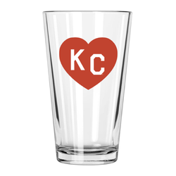 Made in KC x Charlie Hustle KC Heart Pint Glass: Red