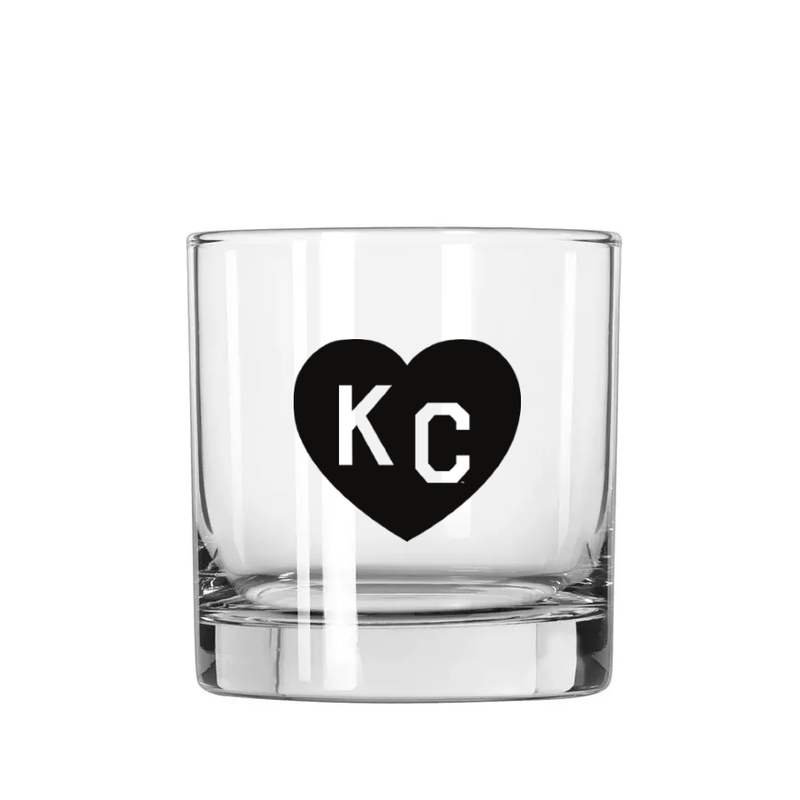 Made in KC x Charlie Hustle KC Heart Rocks Glass: Black