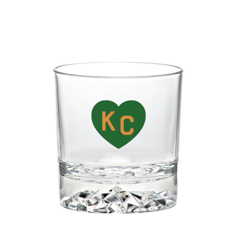 Made in KC x Charlie Hustle KC Heart Rocks Glass: Green/Gold