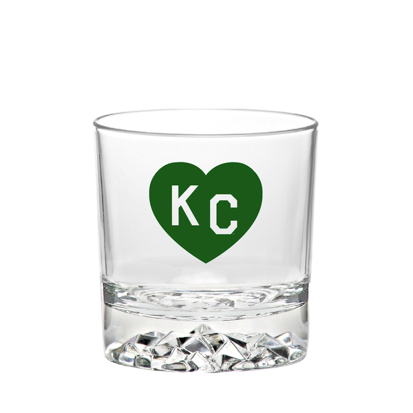 Made in KC x Charlie Hustle KC Heart Rocks Glass: Green/White