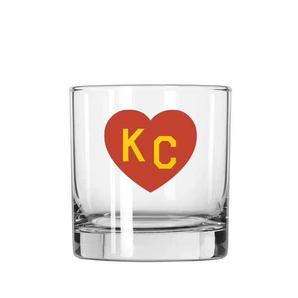 Made in KC x Charlie Hustle KC Heart Rocks Glass: Red/Yellow
