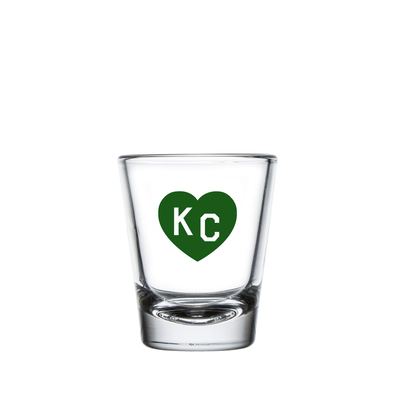Made in KC x Charlie Hustle KC Heart Shot Glass: Green/White