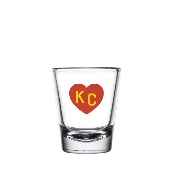 Made in KC x Charlie Hustle KC Heart Shot Glass: Red/Yellow