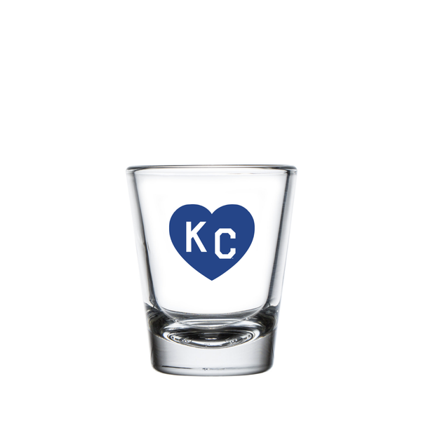 Made in KC x Charlie Hustle KC Heart Shot Glass: Royal Blue